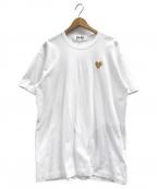 PLAY COMME des GARCONS(プレイコムデギャルソン)の古着「ゴールドハートロゴTシャツ」|ホワイト×ゴールド