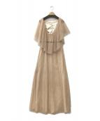 ()の古着「バックサシャンレースロングドレス」 ベージュ