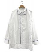 ()の古着「パジャマシャツ」 ホワイト×ブルー