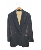 ()の古着「ダブルボタンラインジャケット」|ブラック×ブラウン