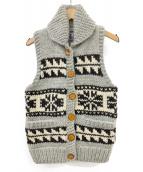 KANATA(カナタ)の古着「カウチンニットベスト」|グレー×ホワイト