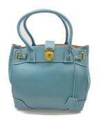 A.D.M.J.(エーディーエムジェー)の古着「レザーハンドバッグ」 ブルー