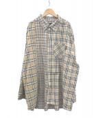 AJOBYAJO(アジョバイアジョ)の古着「クレイジーパターンシャツ」 ベージュ