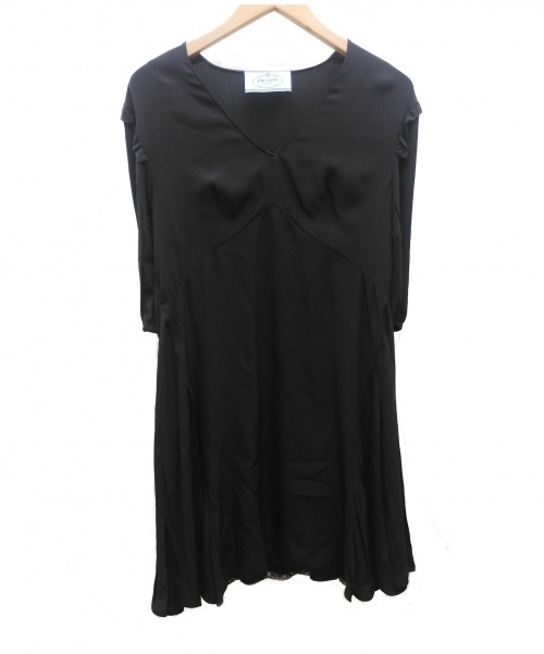 PRADA(プラダ)PRADA (プラダ) レース切替ブラウスワンピース ブラック サイズ:36S 夏物の古着・服飾アイテム