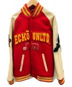 ECKO UNLTD(エコーアンリミテッド)の古着「スタジャン」 レッド×ベージュ