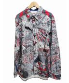 tadanori yokoo&bohemians(ヨコオ タダノリ&ボヘミアンズ)の古着「総柄アーティストシャツ」|グレー×レッド