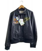 AVIREX(アヴィレックス)の古着「BlueAngelsレザージャケット」|ブラック