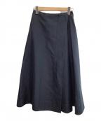 VERMEIL par iena(ヴェルメイユパーイエナ)の古着「綿麻二重織りラップスカート」 ネイビー
