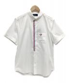 ()の古着「フロントテープ半袖BDシャツ」|ホワイト×ボルドー