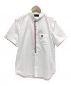 FRED PERRY(フレッドペリー)の古着「フロントテープ半袖BDシャツ」|ホワイト×ボルドー