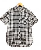 FRED PERRY(フレッドペリー)の古着「半袖BDシャツ」|ブラック×ホワイト