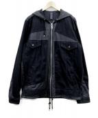 MIHARA YASUHIRO(ミハラヤスヒロ)の古着「デニムパッチフーデッドジャケット」|ブラック