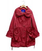BURBERRY BLUE LABEL(バーバリーブルーレーベル)の古着「ナイロンギャザードロングコート」|ショッキングピンク