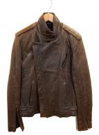 AKM(エーケーエム)の古着「ダブルレザージャケット」|ブラック