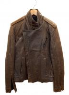 AKM(エーケーエム)の古着「ダブルレザージャケット」 ブラック