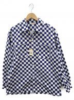 TOWN CRAFT(タウンクラフト)の古着「ブロックチェック柄 オープンカラーシャツ」 ホワイト×ネイビー