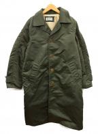 HOLLYWOOD RANCH MARKET(ハリウッドランチマーケッド)の古着「ナイロンツイルラグランステンカラーコート」|カーキ