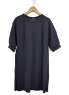 Gabardine K.T(ギャバシンケーティー)の古着「5分袖チュニックワンピース」 ブラック