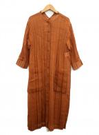 Gabardine K.T(ギャバシンケーティー)の古着「ソフトオーガンジープリーツロングシャツ」 ブラウン