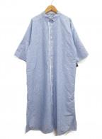 ARTISAN(アルチザン)の古着「ストライプジャガードシャツワンピース」 ブルー