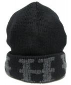 HERMES(エルメス)の古着「ニット帽」 ブラック×グレー