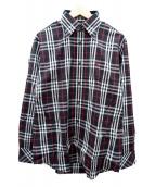 BURBERRY BLACK LABEL(バーバリーブラックレーベル)の古着「ボタンダウンシャツ」|レッド×ブラック