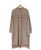TICCA(ティッカ)の古着「バンドカラーシャツワンピース」|チョコレートブラウン