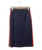 beautiful people(ビューティフルピープル)の古着「ラインミディスカート」|ネイビー×レッド