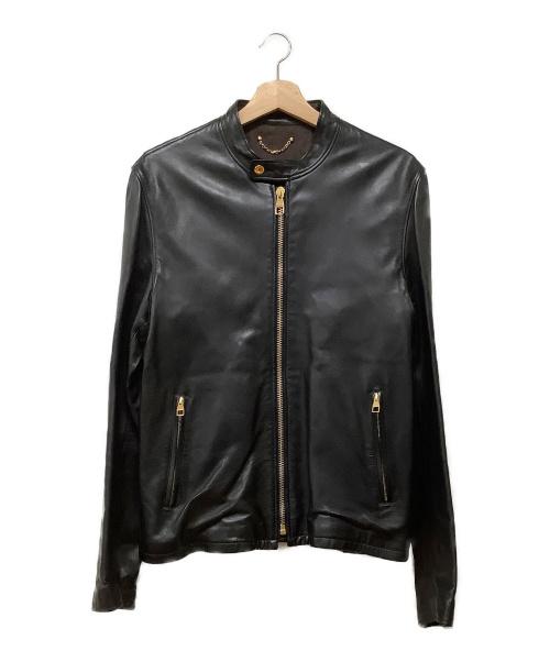 LOUIS VUITTON(ルイ ヴィトン)LOUIS VUITTON (ルイヴィトン) レザーライダースジャケット ブラック サイズ:50 ラムレザーの古着・服飾アイテム