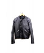 ACNE STUDIOS(アクネ ストゥディオズ)の古着「ジップデザインシングルライダースジャケット」 ブラック