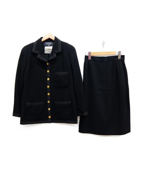 CHANEL(シャネル)CHANEL (シャネル) ツイードセットアップ ブラック サイズ:38 秋冬物の古着・服飾アイテム