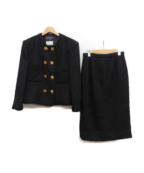 CHANEL(シャネル)CHANEL (シャネル) ダブルブレストセットアップ ブラック サイズ:40 秋冬物の古着・服飾アイテム