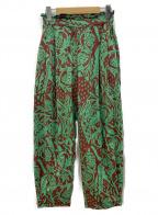H BEAUTY&YOUTH(エイチ ビューティアンドユース)の古着「アフリカンプリントパンツ」|グリーン