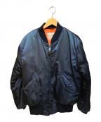 HOUSTON(ヒューストン)の古着「MA-1ジャケット」|ネイビー×オレンジ