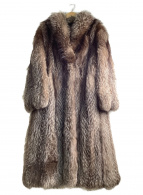 SAGA FOX(サガフォックス)の古着「毛皮ロングコート」|ブラウン×ホワイト