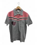 Dry Bones(ドライボーンズ)の古着「半袖ジップスウェットシャツ」|グレー×ピンク