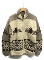 CANADIAN SWEATER(カナディアンセーター)の古着「カウチンニットカーディガン」 ベージュ×ホワイト