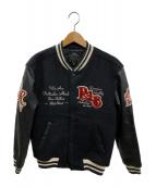 R.J.B(アールジェイビー)の古着「袖革スタジャン」|ブラック