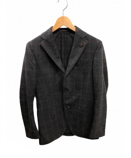 LARDINI(ラルディーニ)LARDINI (ラルディーニ) テーラードジャケット グレー×ブラウン サイズ:42(Lサイズに該当) チェックの古着・服飾アイテム