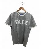 J.PRESS(ジェイプレス)の古着「プリントトリムTシャツ」|ライトグレー