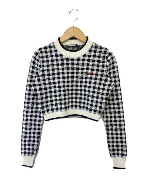 MIU MIU(ミュウミュウ)MIU MIU (ミュウミュウ) ニット ホワイト×ブラック サイズ:SIZE 36 未使用品の古着・服飾アイテム
