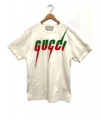 GUCCI(グッチ)の古着「ブレードプリントロゴTシャツ」 ベージュ