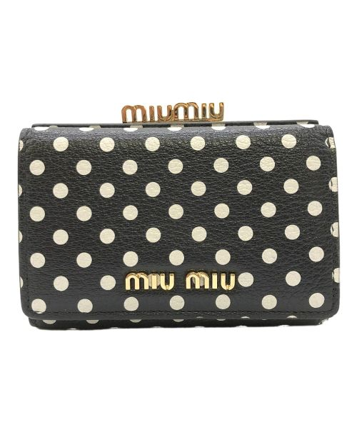 MIU MIU(ミュウミュウ)MIU MIU (ミュウミュウ) マドラスレザーがま口財布 ブラックの古着・服飾アイテム