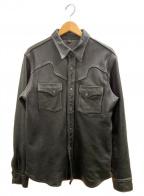 FLAT HEAD(フラット ヘッド)の古着「ディアスキンレザーシャツ」 ブラウン