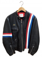 Lewis Leathers(ルイスレザース)の古着「シングルレザージャケット」 トリコロール×ブラック