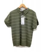 LACOSTE(ラコステ)の古着「細ボーダー ハニカムコットン ポロシャツ」|オリーブ