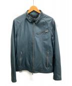 LIUGOO LEATHERS(リューグーレザーズ)の古着「シングルライダースジャケット」 ネイビー