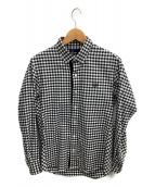 FRED PERRY(フレッドペリー)の古着「テクスチャートリムシャツ」|ブラック×ホワイト