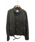 ()の古着「シングルライダースジャケット」 ブラウン