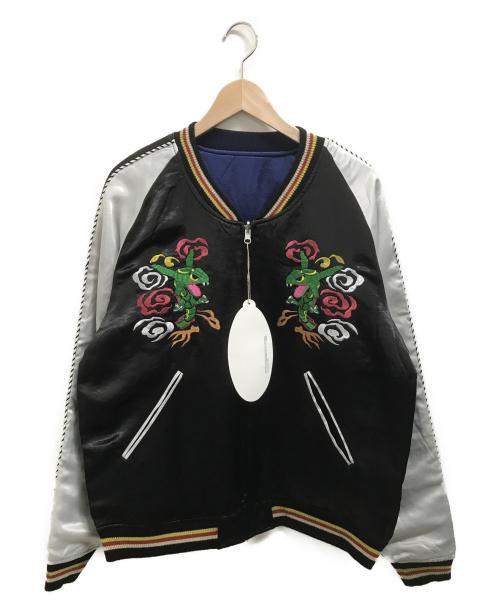ポケモン(ポケモン)ポケモン (ポケモン) スカジャン レックウザ ブラック×ホワイト サイズ:Mの古着・服飾アイテム